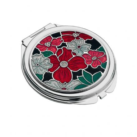 Compact Mirror Red Flowers